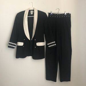 Vintage Black and white suit size small